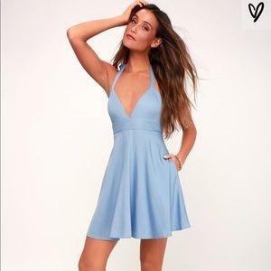 Lulus smitten blue halter dress